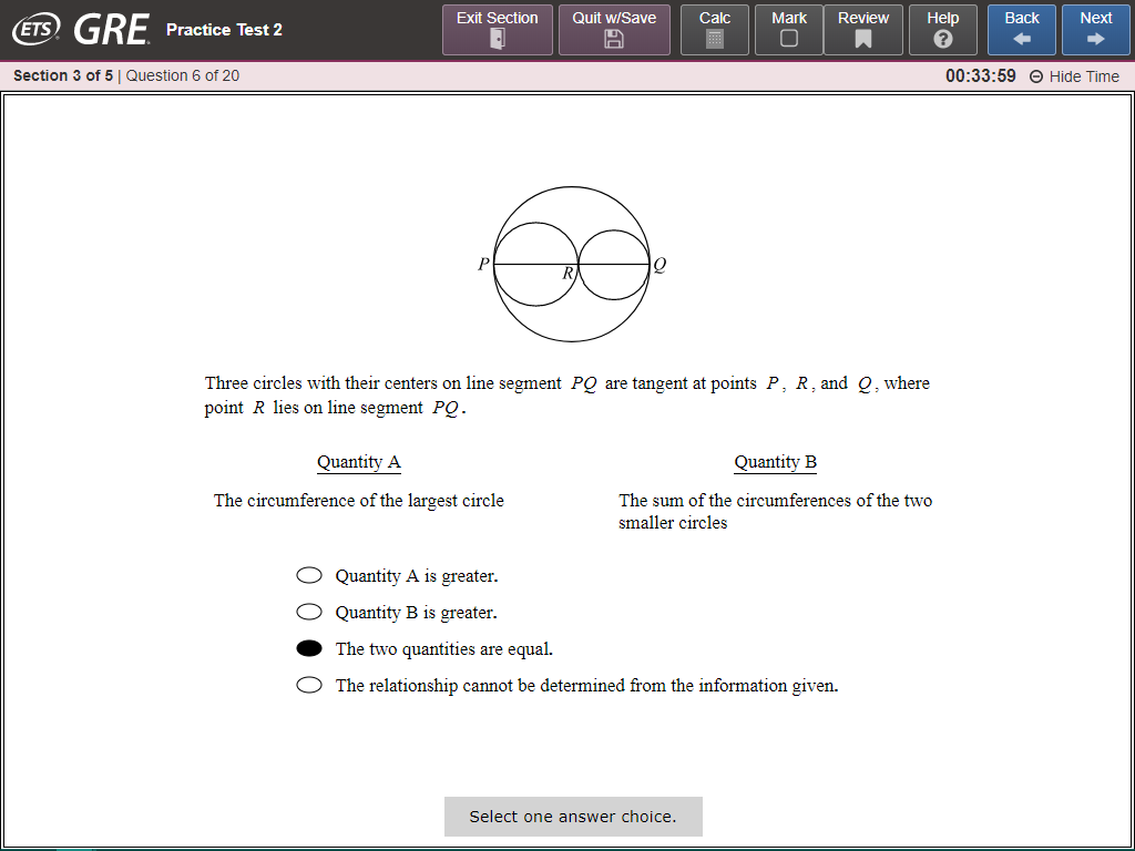 Fig. 1 The current user interface of the GRE General Test