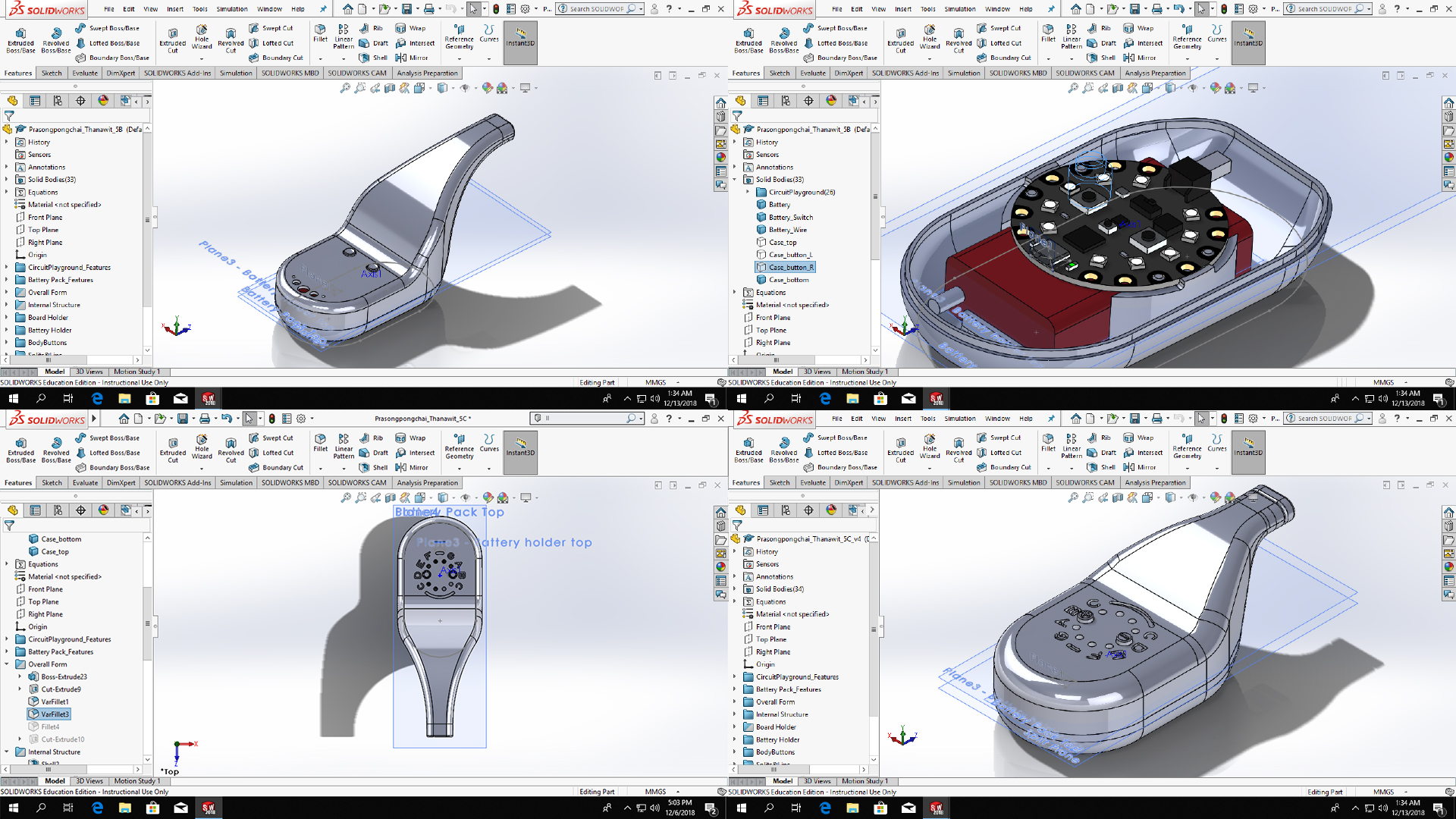 Screenshots from the 3D modeling process in SolidWorks showing multiple versions of the design
